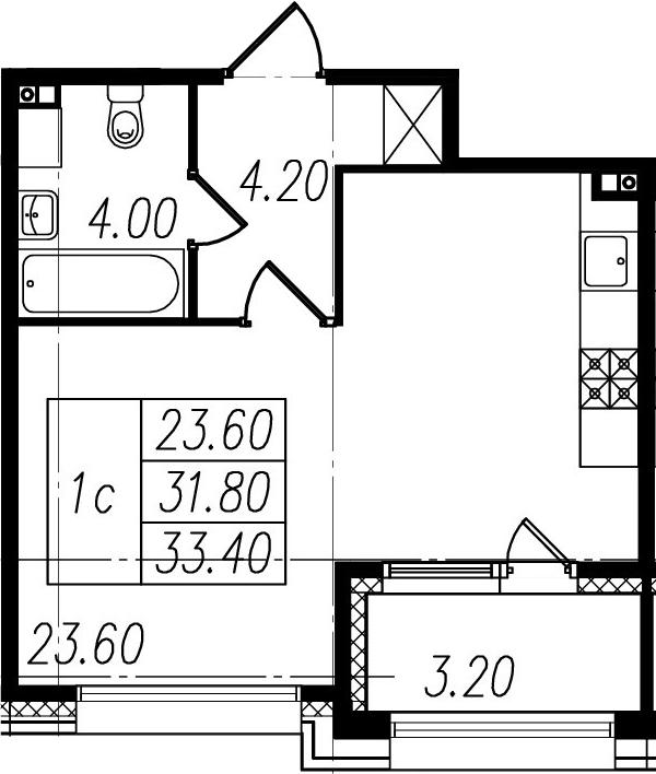 Студия, 31.8 м², 1 этаж
