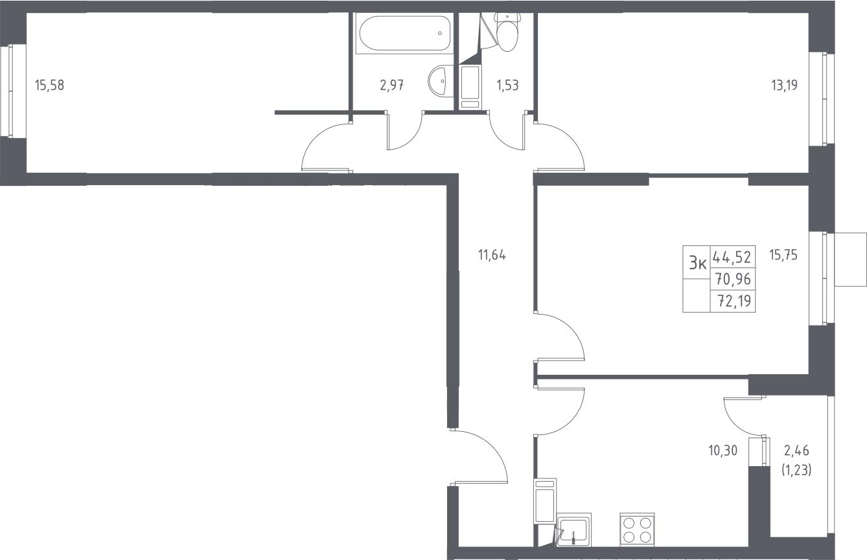 3-к.кв, 73.42 м²
