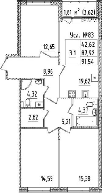 4-к.кв (евро), 91.54 м²