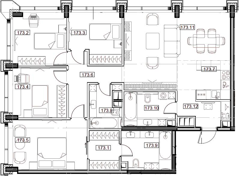 5Е-комнатная, 111.08 м²– 2