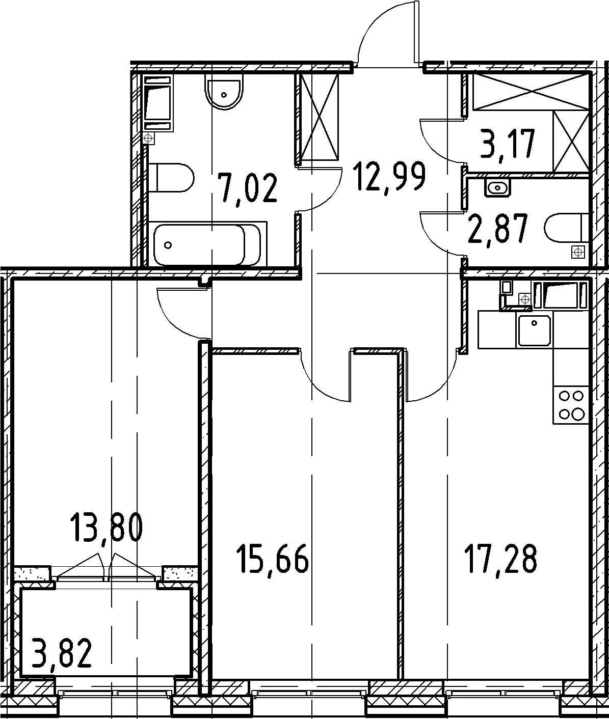 2-к.кв, 72.29 м²