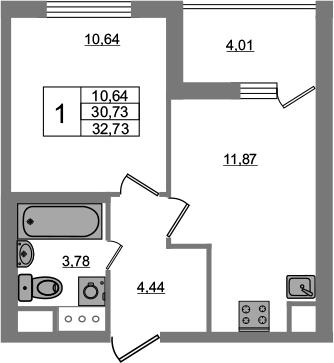 1-к.кв, 34.73 м²