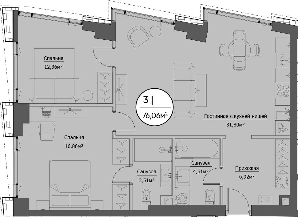 3Е-к.кв, 76.06 м²