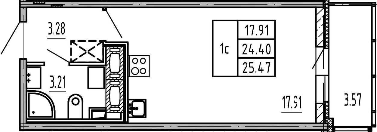 Студия, 24.4 м², 14 этаж