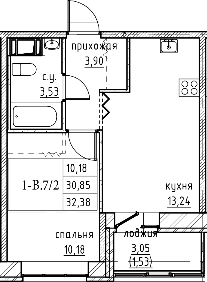 2Е-к.кв, 32.38 м²