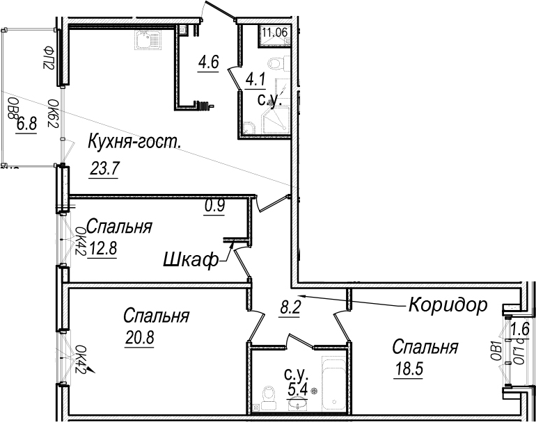 4Е-к.кв, 101.8 м²