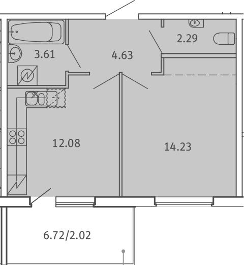 1-комнатная, 38.86 м²– 2