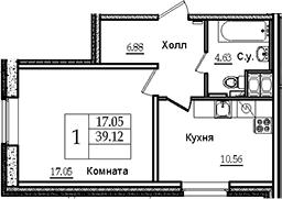 1-к.кв, 39.12 м²