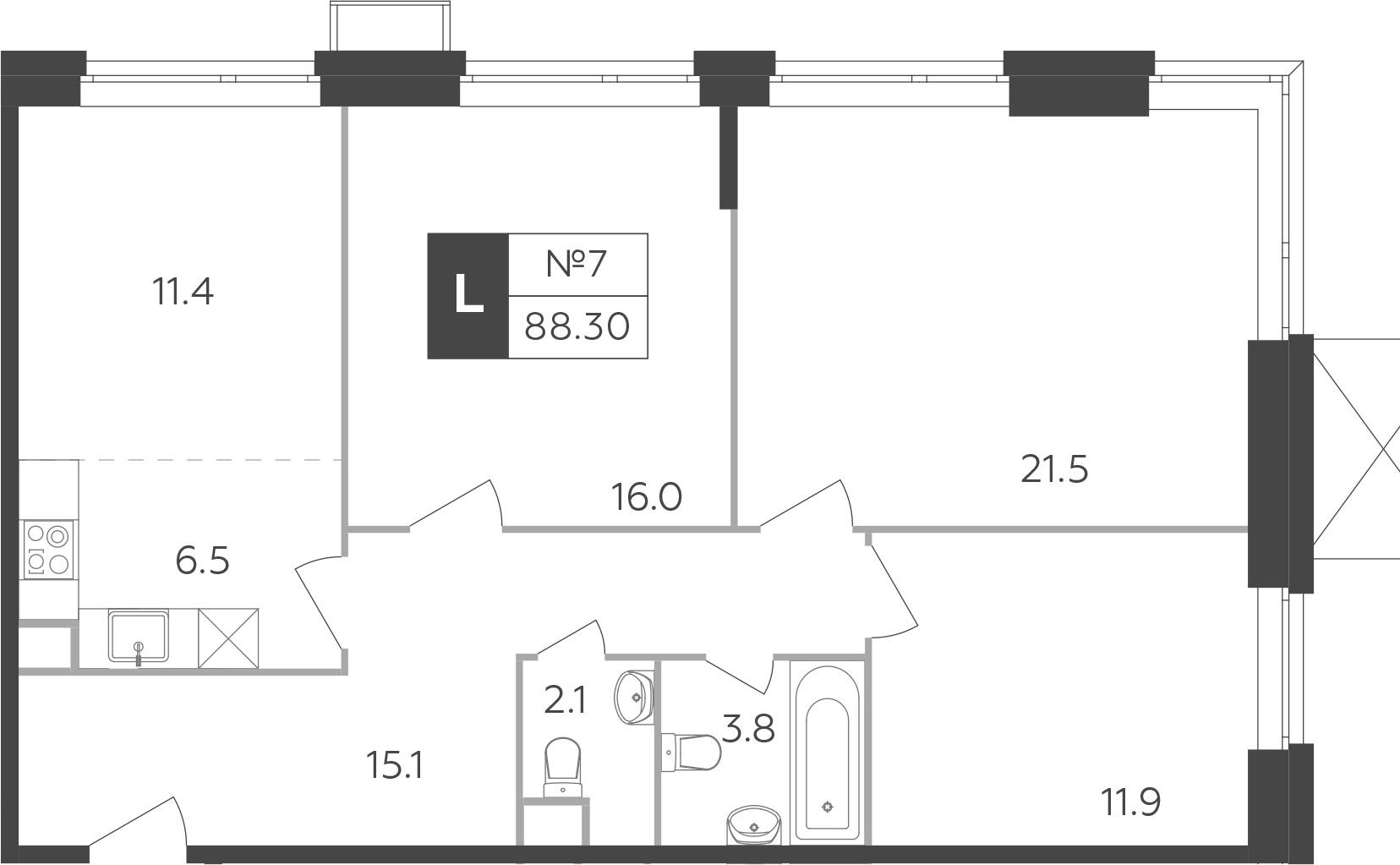 4-к.кв (евро), 88.3 м²