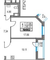 2Е-комнатная, 48.37 м²– 2