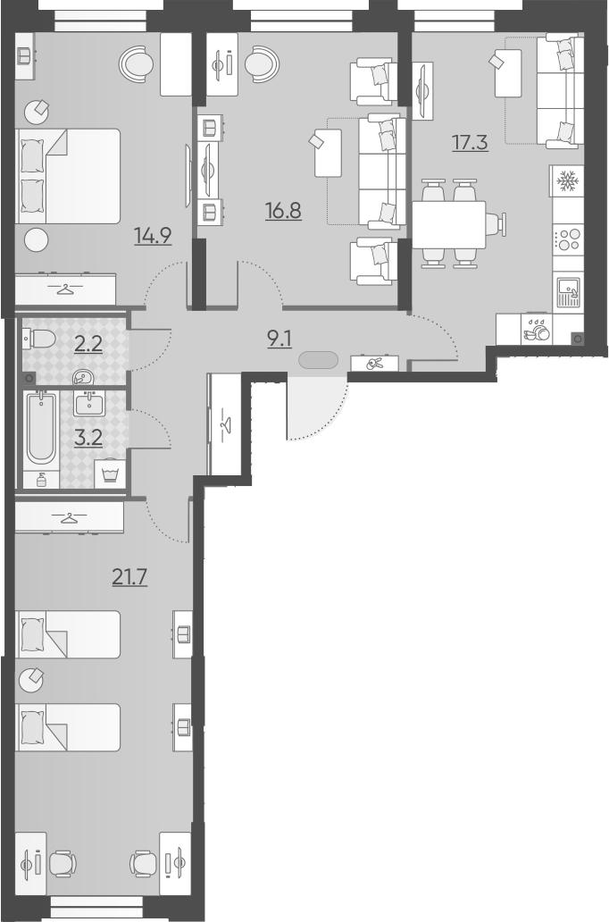 3-к.кв, 85.2 м²