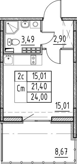 Студия, 21.4 м²