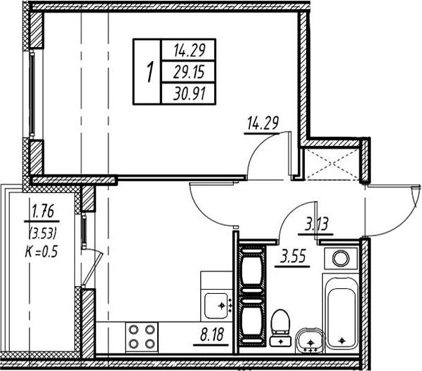 1-к.кв, 29.15 м²