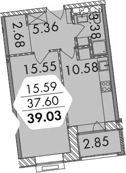 1-к.кв, 40.4 м²
