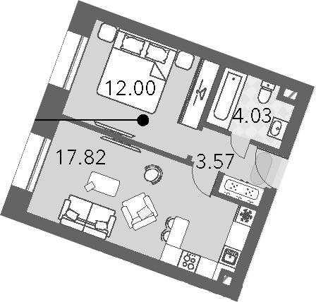2Е-к.кв, 37.42 м², 12 этаж