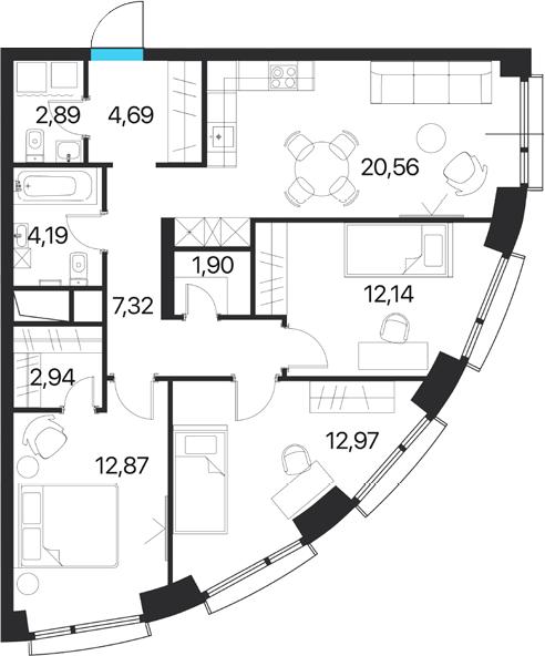 3-к.кв, 82.47 м², от 14 этажа