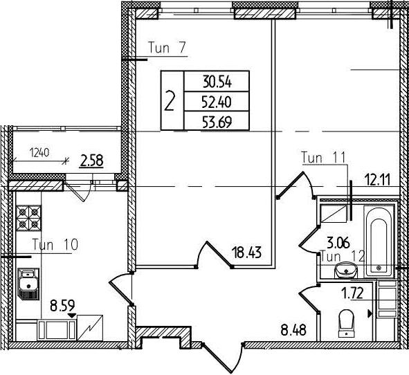 2-к.кв, 55.18 м²