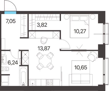 2-к.кв, 51.9 м²