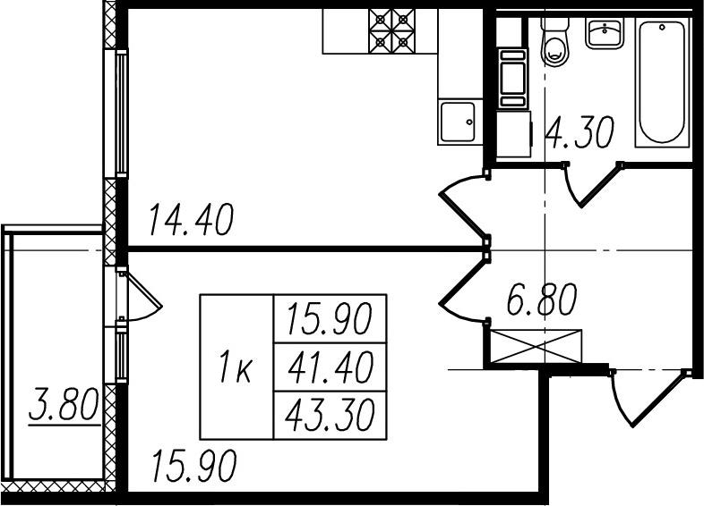 1-к.кв, 41.4 м², 10 этаж