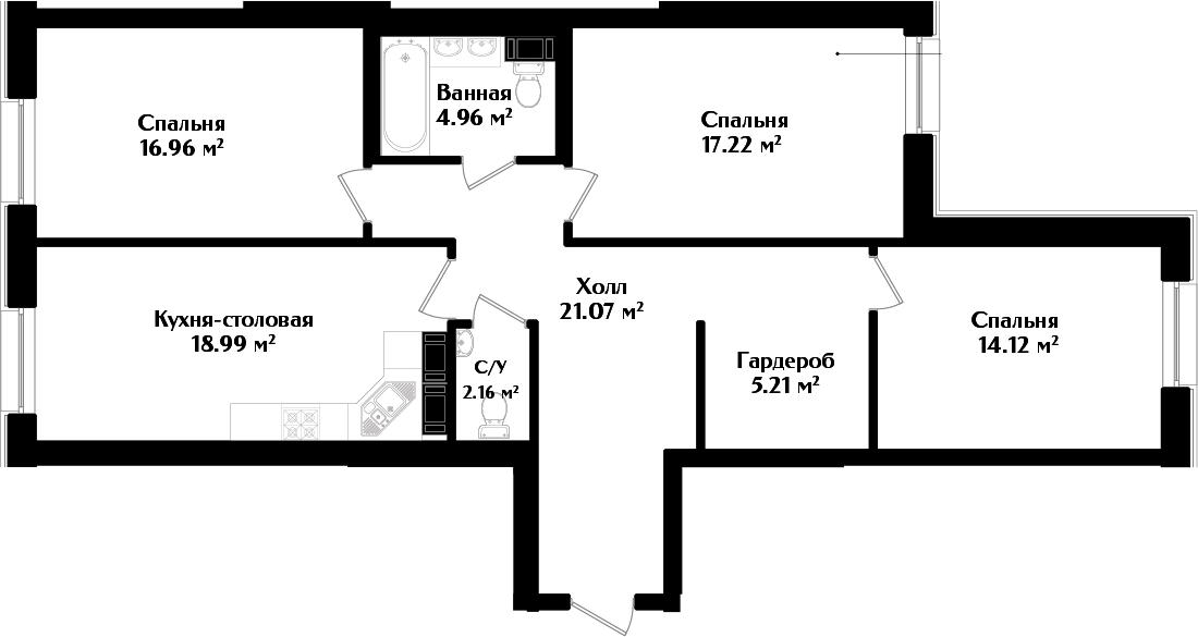 4-к.кв (евро), 100.69 м²