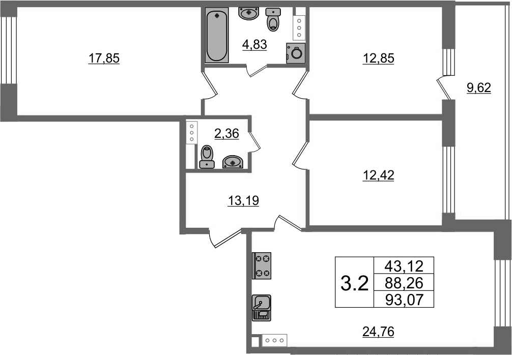 4Е-комнатная, 88.26 м²– 2