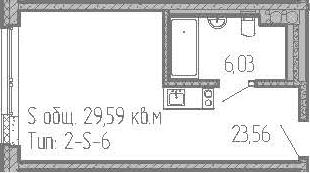 Студия, 29.59 м²– 2