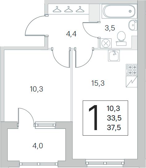 2Е-комнатная, 33.5 м²– 2