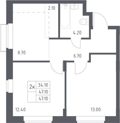 3Е-к.кв, 47.1 м²
