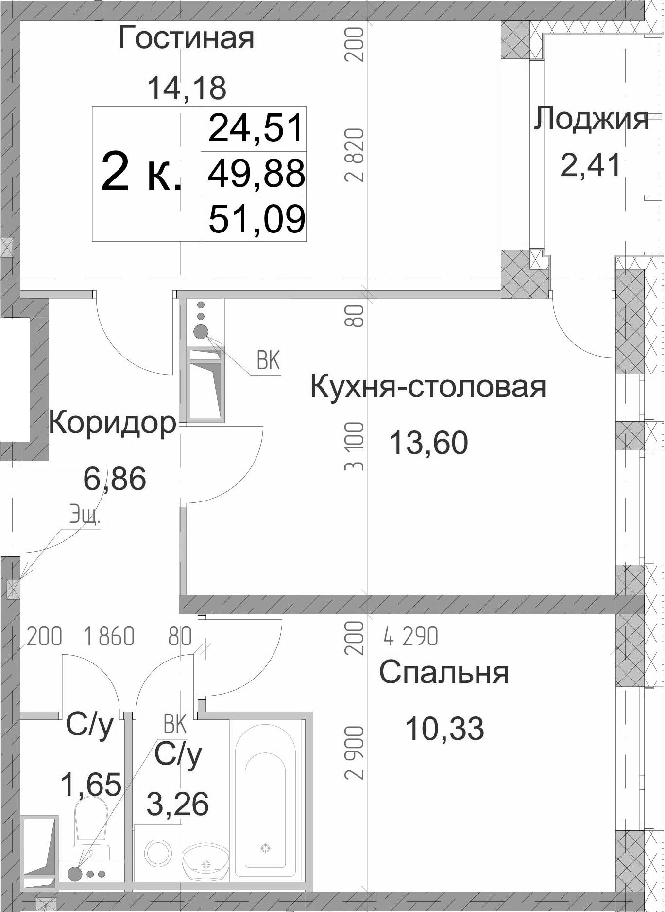 2-к.кв, 51.09 м²