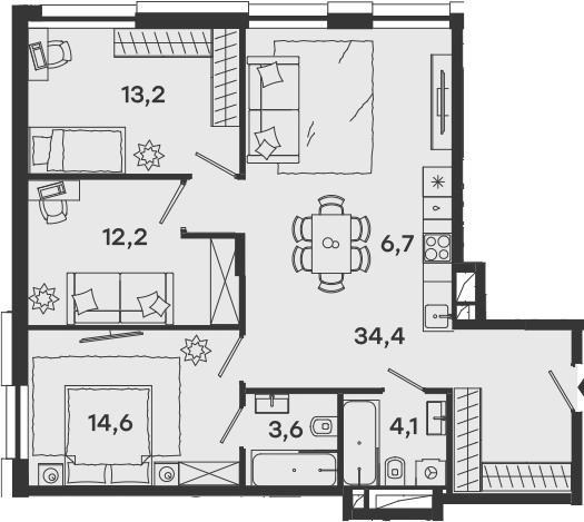 4-к.кв (евро), 88.8 м²
