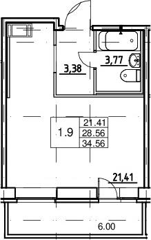 Студия, 28.56 м², от 11 этажа