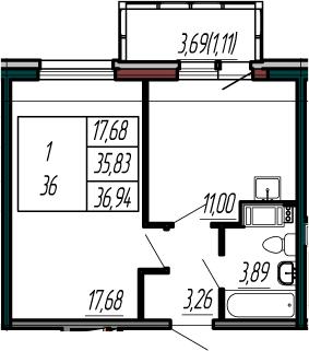 1-комнатная, 35.83 м²– 2