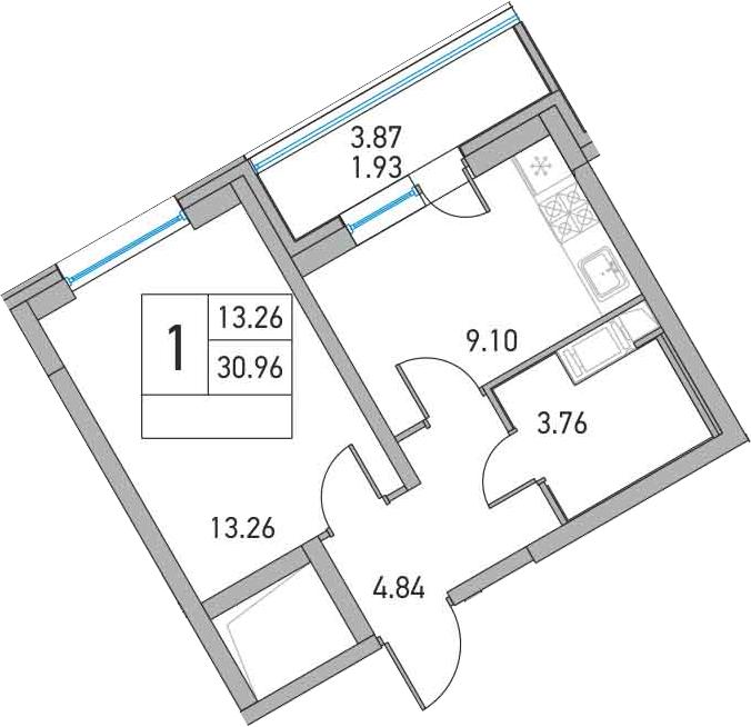 1-к.кв, 34.83 м²