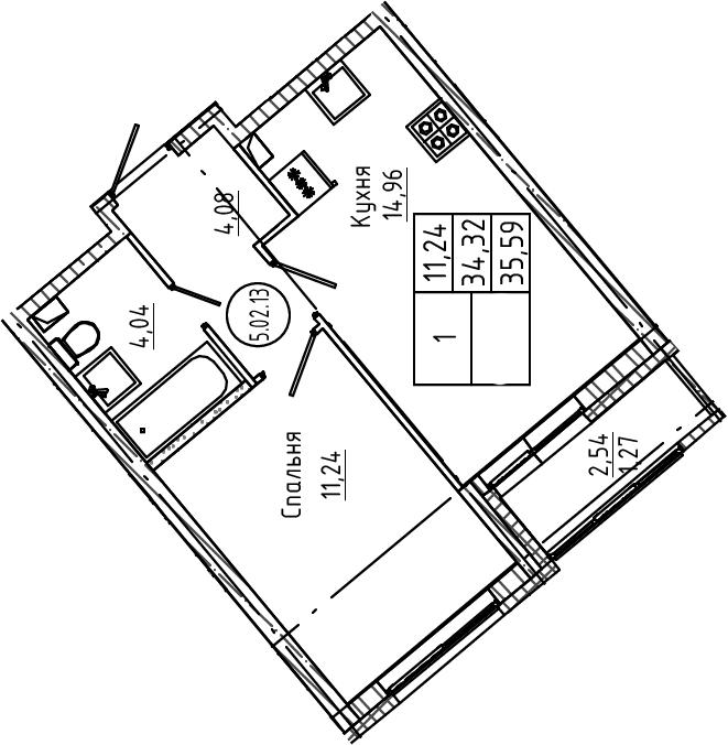 1-к.кв, 35.59 м², 2 этаж