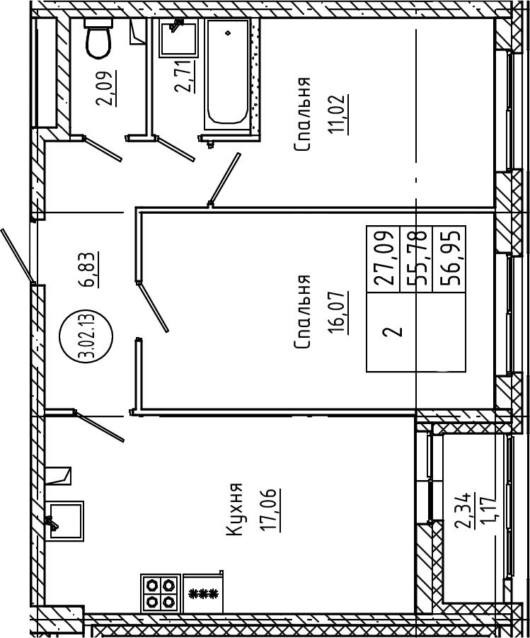 3Е-к.кв, 56.95 м²