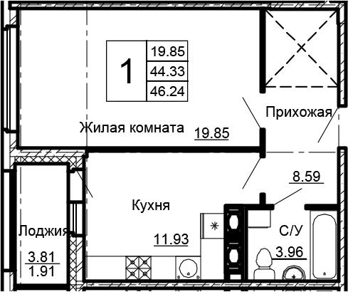1-к.кв, 46.24 м²