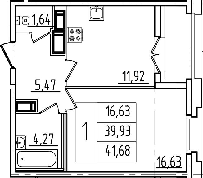 1-комнатная, 41.68 м²– 2