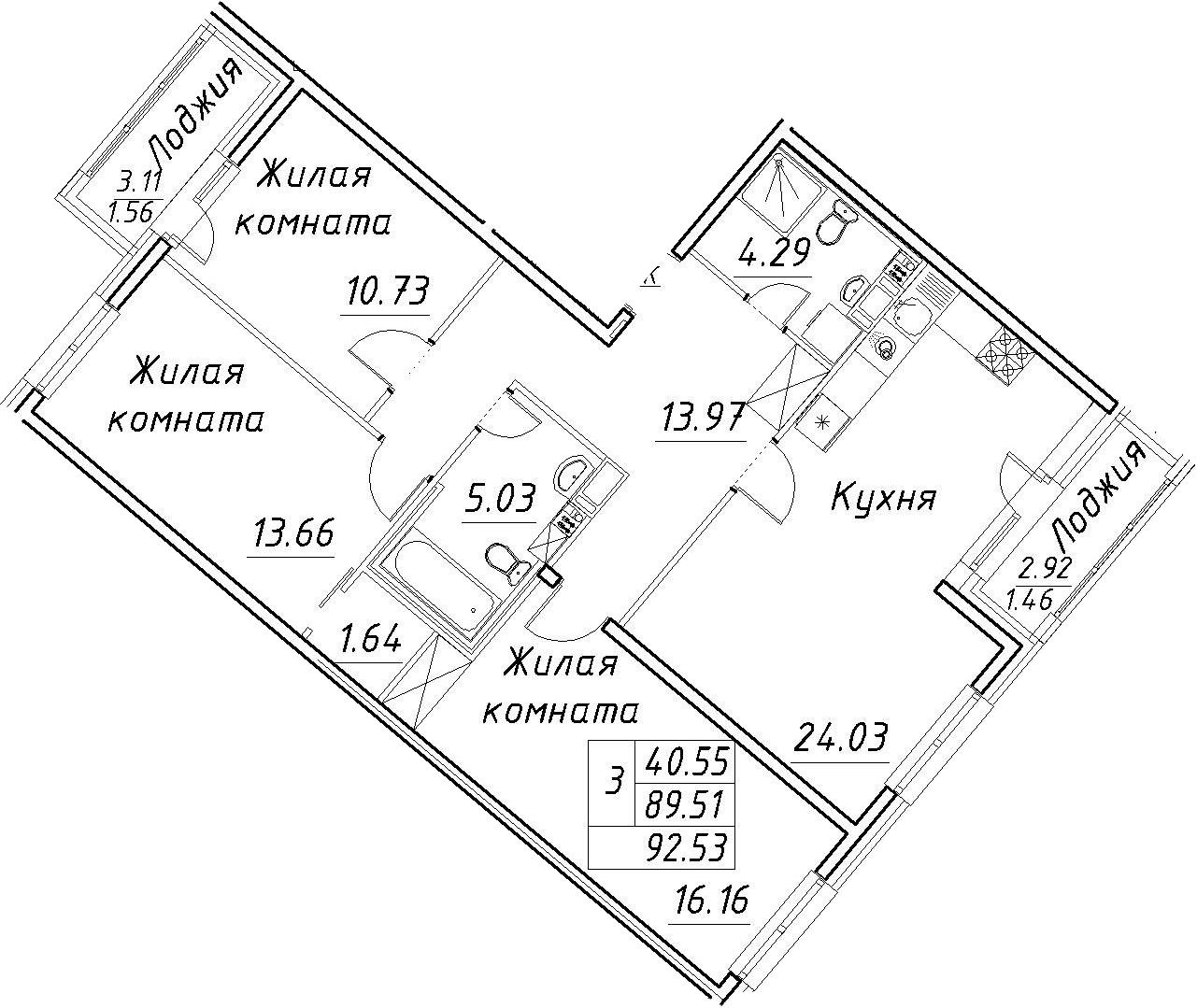 4Е-к.кв, 92.53 м², 12 этаж