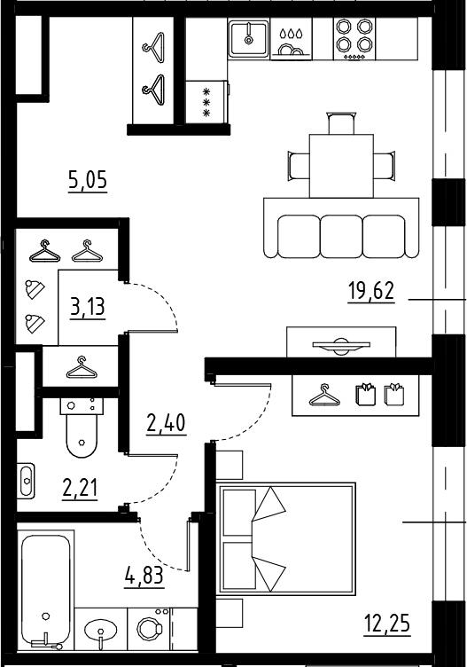 2Е-комнатная квартира, 49.49 м², 7 этаж – Планировка