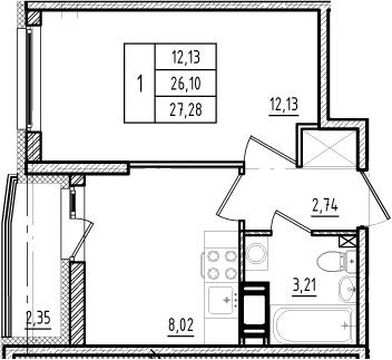 1-к.кв, 26.1 м², 8 этаж