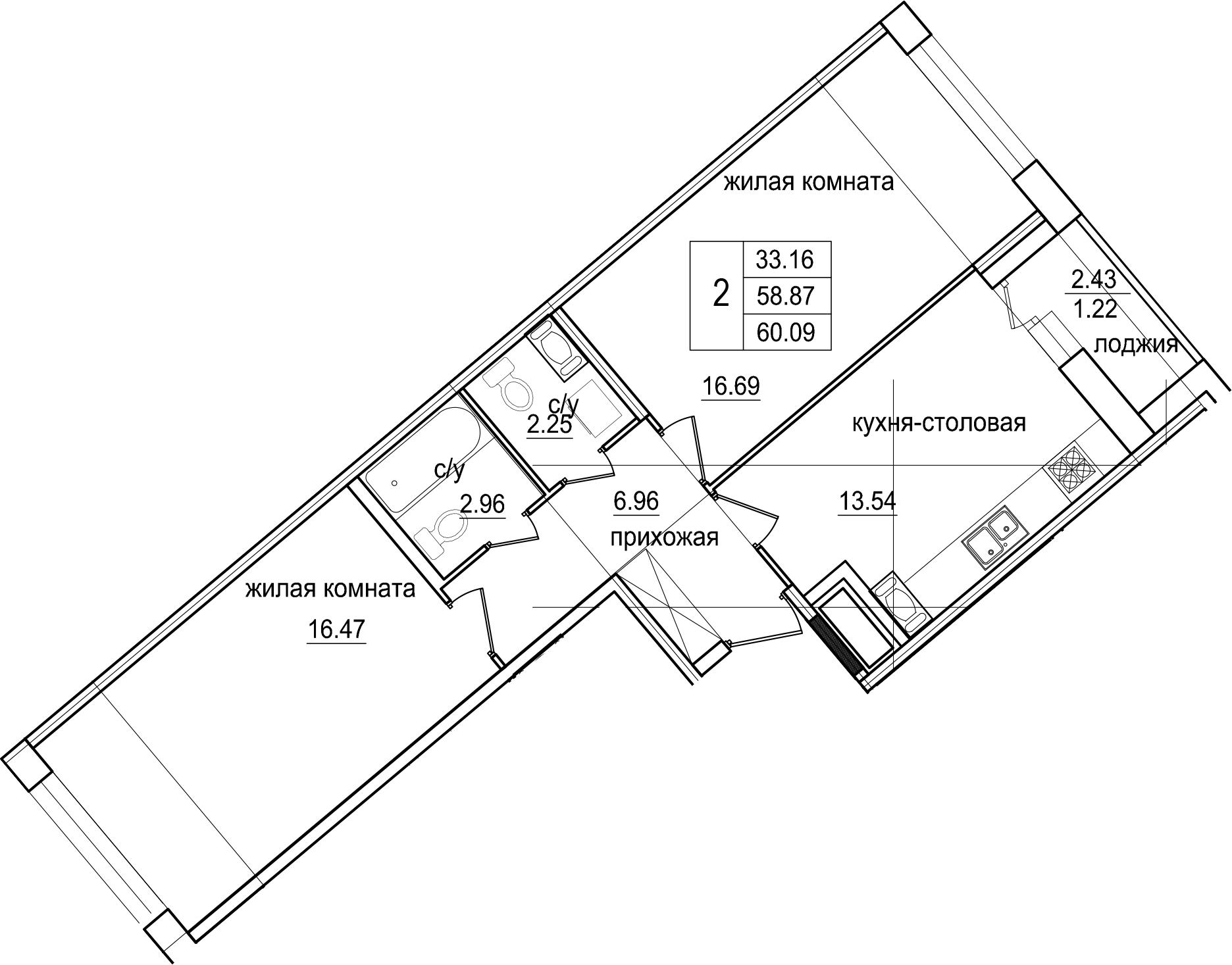 2-комнатная квартира, 60.09 м², 2 этаж – Планировка
