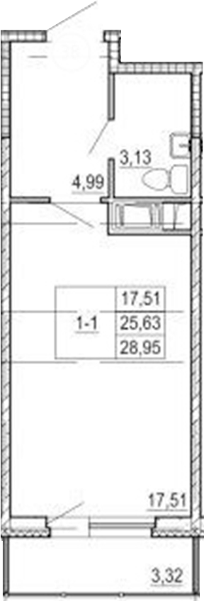 Студия, 29.08 м²
