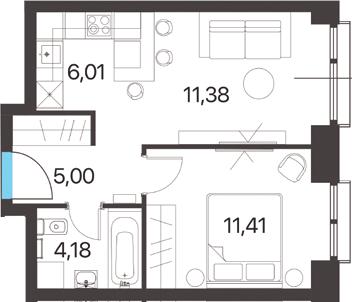 2Е-к.кв, 37.98 м², 2 этаж