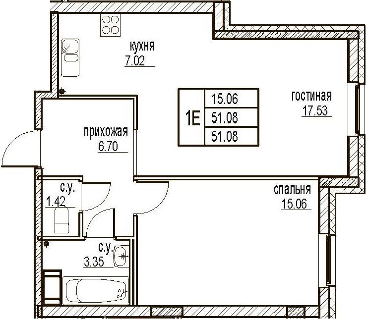 2Е-комнатная, 51.08 м²– 2