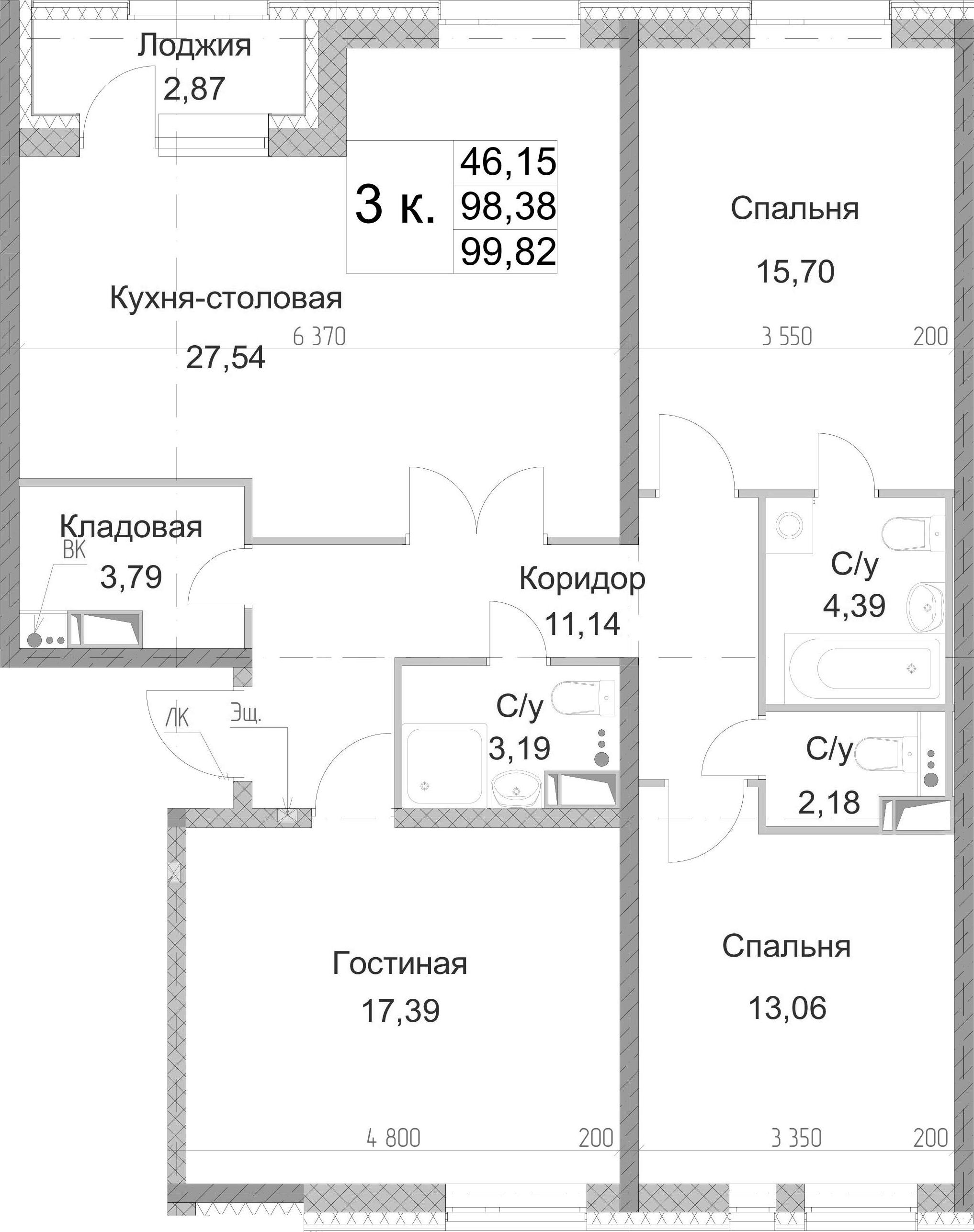 3-к.кв, 99.82 м², 8 этаж