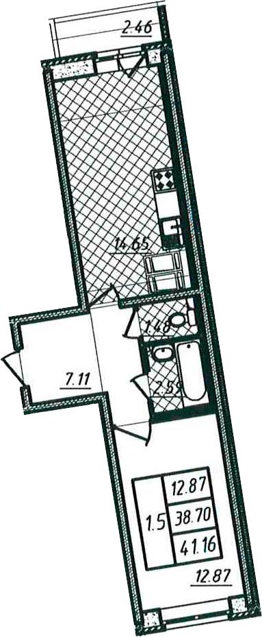 1-к.кв, 38.7 м²