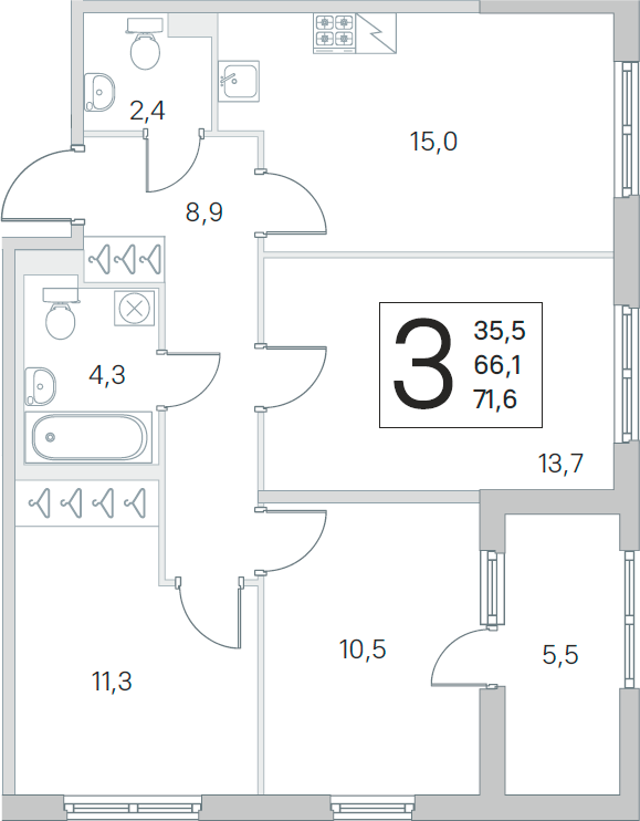 4Е-комнатная, 66.1 м²– 2