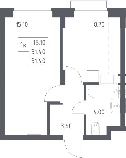 1-к.кв, 31.4 м², 12 этаж