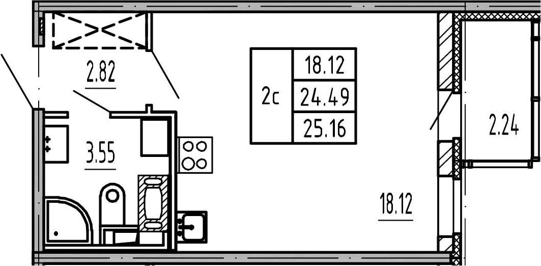 Студия, 24.49 м², 11 этаж