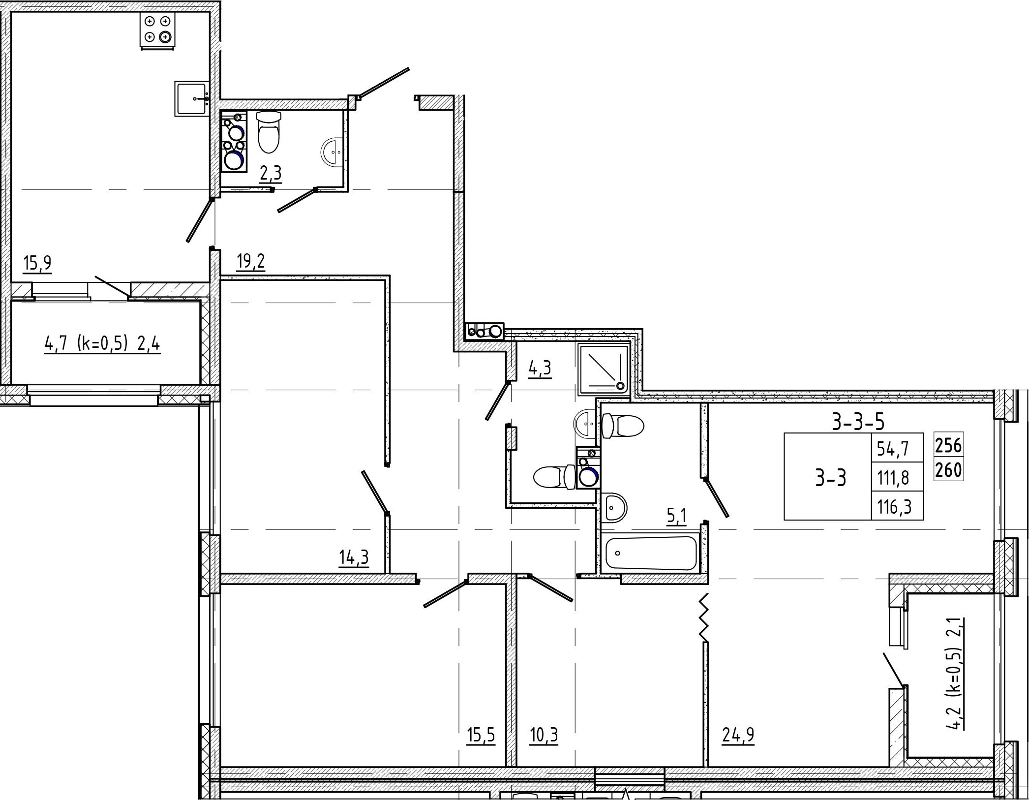 5Е-комнатная, 116.3 м²– 2